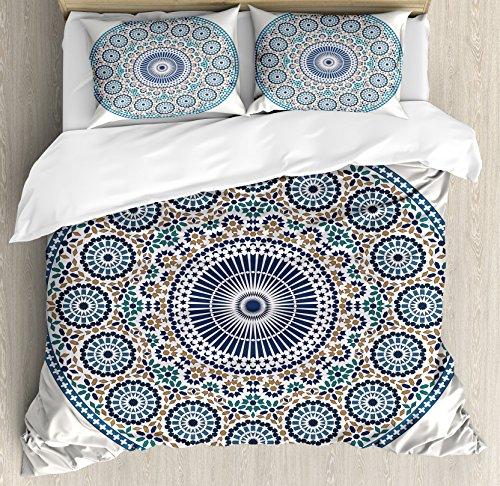 Ambesonne Arabic Duvet Cover Set King Size, Antique Aged Arabic Style Mosaic Circular Design Ornamental Pattern Vintage Artsy, Decorative 3 Piece Bedding Set with 2 Pillow Shams, Blue Grey