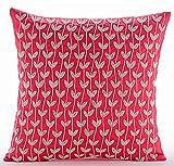 """Luxury Coral Pink Pillow Shams, Prairie Leaf Beaded Pillow Shams, 24""""x24"""" Pillow Sham, Square Cotton Linen Shams, Art Deco Pillow Shams - White Prairies"""