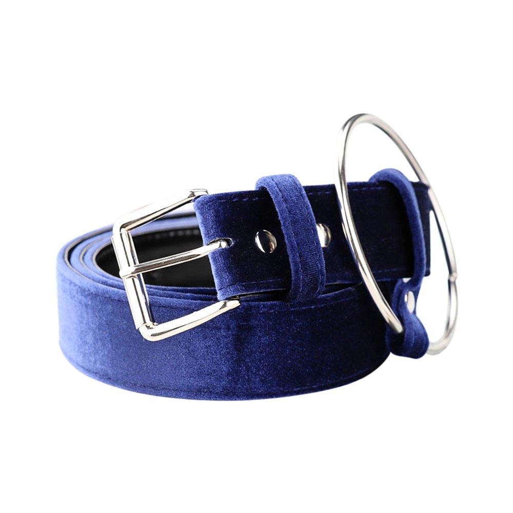 Ya Jin Fashion Velvet Pin Buckle Designer Dress Belts with Ring for Women Girls