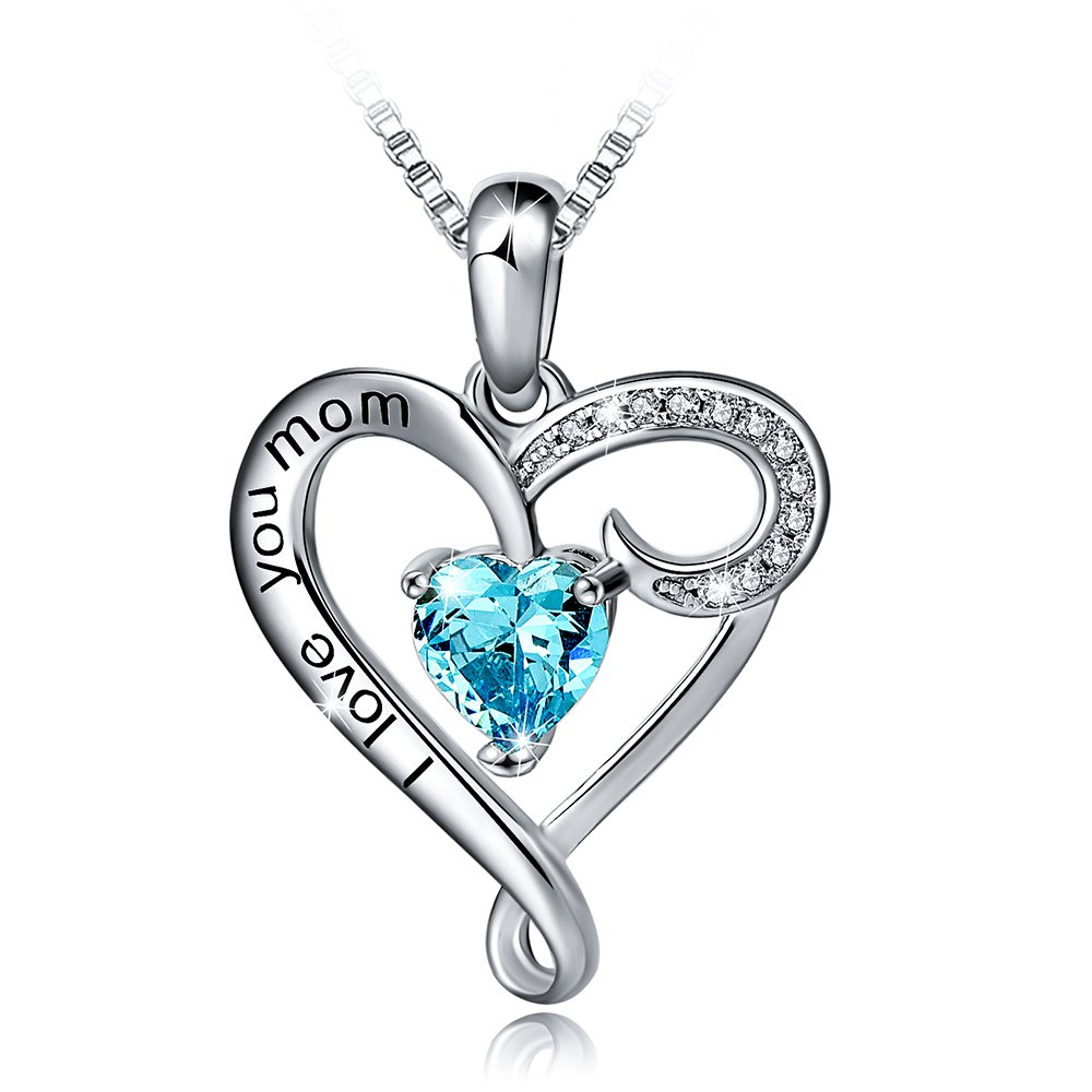 Mother's Birthday Gift''I Love You Mom'' S925 Sterling Silver Heart Pendant Necklace (I Love You Mom-Blue Heart)