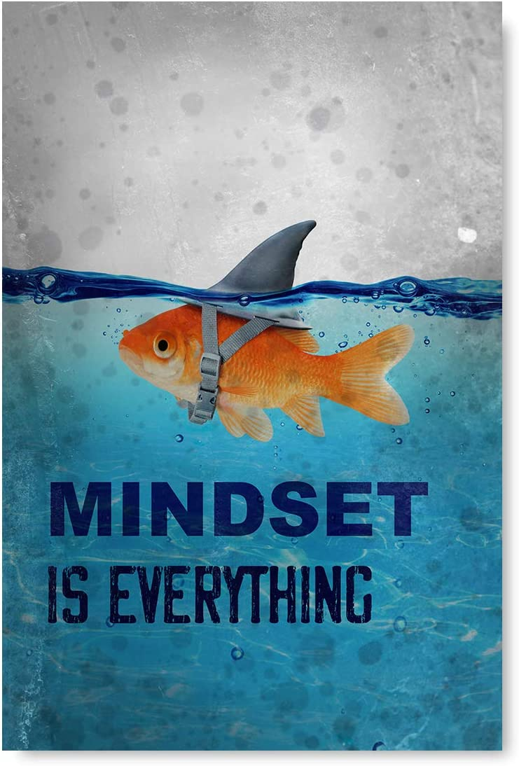 "Cute Fish Illustration Inspirational Poster Mindset is Everything Poster Art Motivational Art Unframed Office Decor Printed Art Picture Mindset is Everything Fish 8"" x 12"""