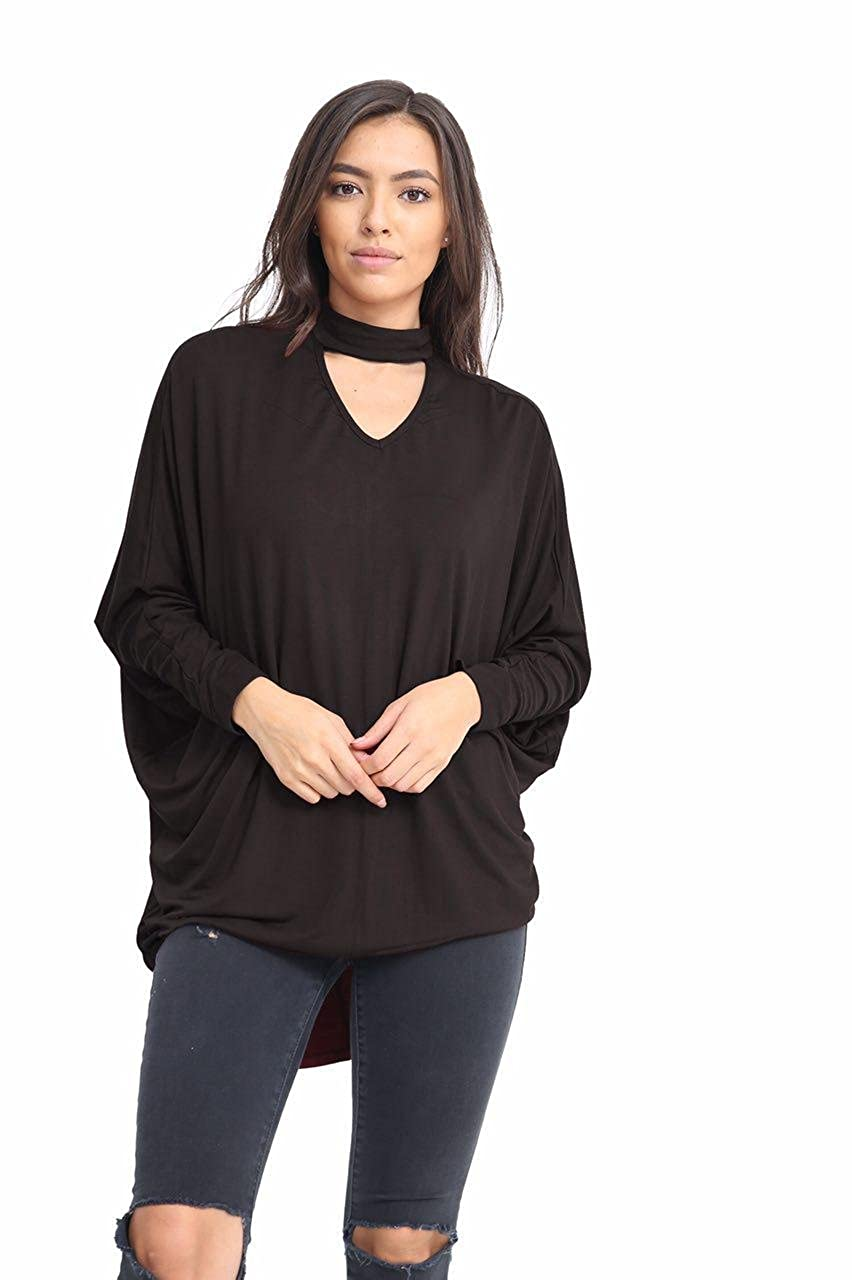 a7a27db3529 Elegant Vaps Womens Choker Neck Baggy Stretch Batwing Hilo Top Long Sleeve  Shirt Plus Size 8-26  Amazon.co.uk  Clothing