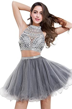MisShow Crystal Two Piece Prom Dress Short Girls Homecoming Party Dress,Gray,Size 2