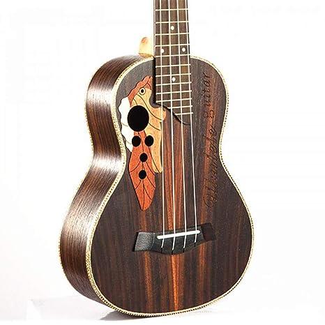 NING-MENG 23 pulgadas hawaiana Mini Guitarra 4 cuerdas Ukelele Cuerpo de palisandro Óvea Agujero