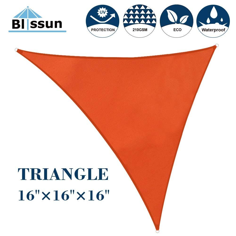 Blissun 16' x 16' x 16' Sun Shade Sail  Triangle Canopy, UV Block for Outdoor Patio Garden, Orange