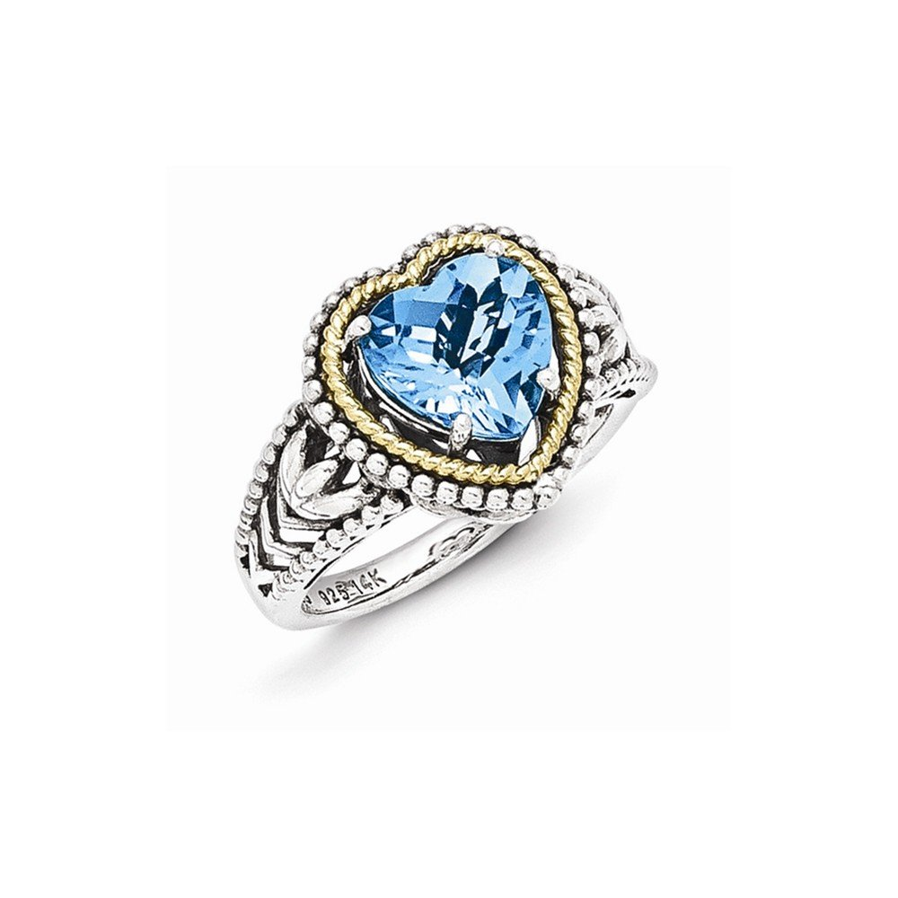 Mia Diamonds 925 Sterling Silver and 14k Yellow Gold Antiqued Blue Topaz Heart Ring