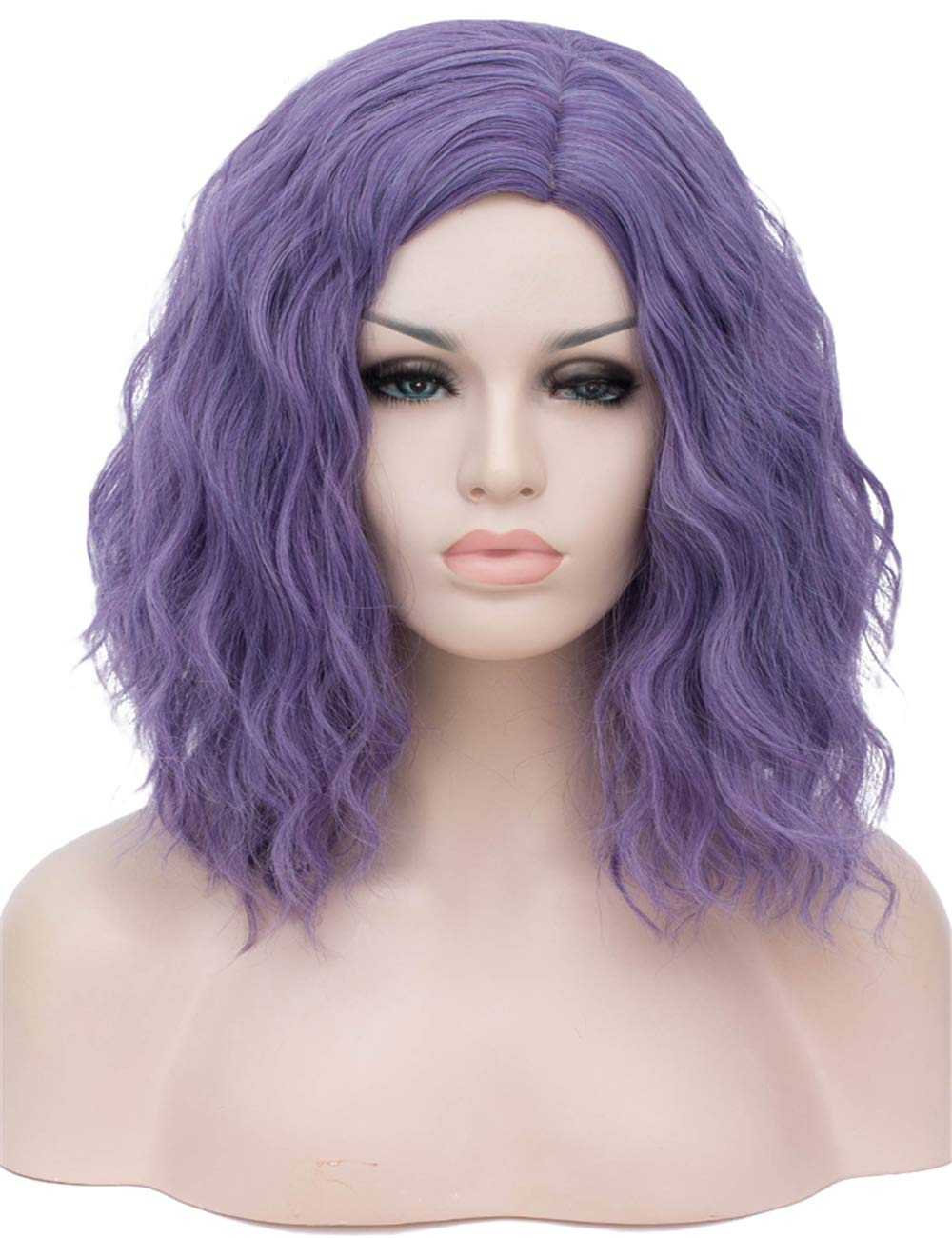 """TopWigy Purple Gray Cosplay Wig Medium Length Curly Wave Colorful Synthetic Heat Resistant Hair Wigs Costume Party Anime Fun Bob Wigs for Women (Purple Gray 16"""")"""