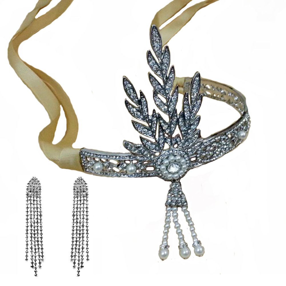 Santfe 1920's Great Gatsby Vintage Style Pearl Crown Tiara Charleston Bridal Headband Headpiece + Earring (Style1)