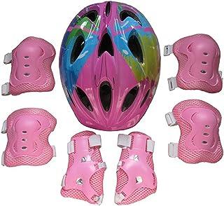 MRKE 7 Stück Helm Knieschoner Set Kinder Kit Helm Kinder Knie Ellenbogenschoner Kinder Schutzhelm Schützendes Knie für Kinder, 5-13 Jahre, 52-59cm