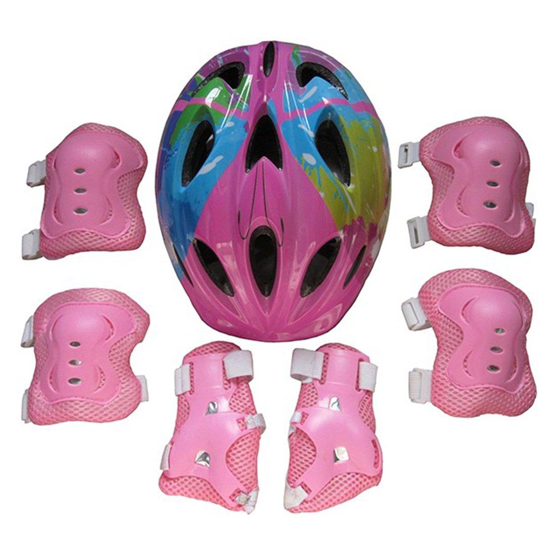Giplar Enfants Sports é quipement de Protection 7 in 1 Kit pour Vé lo Bicyclette Skateboard BMX Roller Patinage (Genouillè res + Coudiè res + Coudiè res + Casque )
