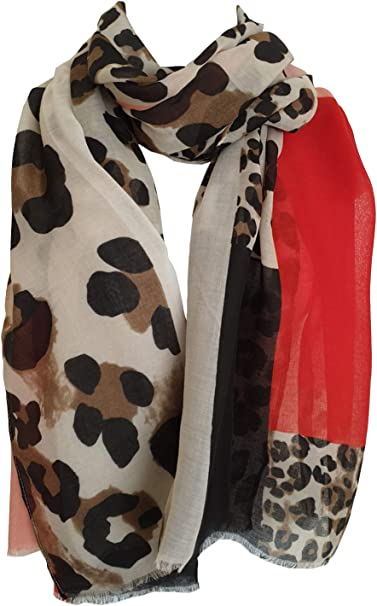 Womans Ladies Large Wrap Soft Shawl Scarf Leopard Print Design with Border