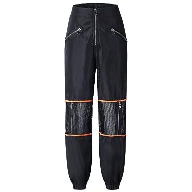 b8c905b77fad Riojay Women Mesh Hollow Zipper Patchwork High Waist Beam Harem Pants  Sportwear Joggers Size S (