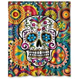 Shower Curtain Custom Waterproof Bathroom Sugar Skull Polyester Fabric Size 60 X 72