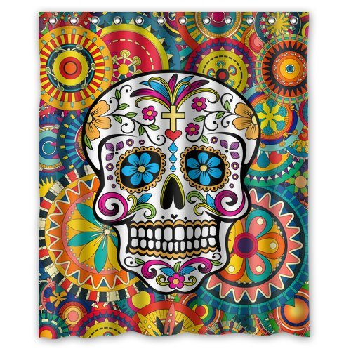 Amazon.com: Custom Waterproof Bathroom Sugar Skull Shower Curtain ...