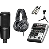 Audio Technica AT2020 Microphone with USB Mixer & Accessories, All In One Solution Kit for Home/Mobile Studio, Podcast, Webinars Recordings.