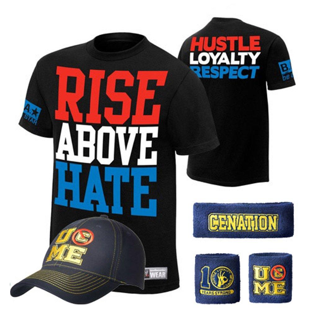 WWE Superstar Cotton Short Sleeved T-shirt , Cap , Sweatbands strong Wristbands 5/2 Piece Set Wrist RAW for Kids ,MEN (l, balck7)