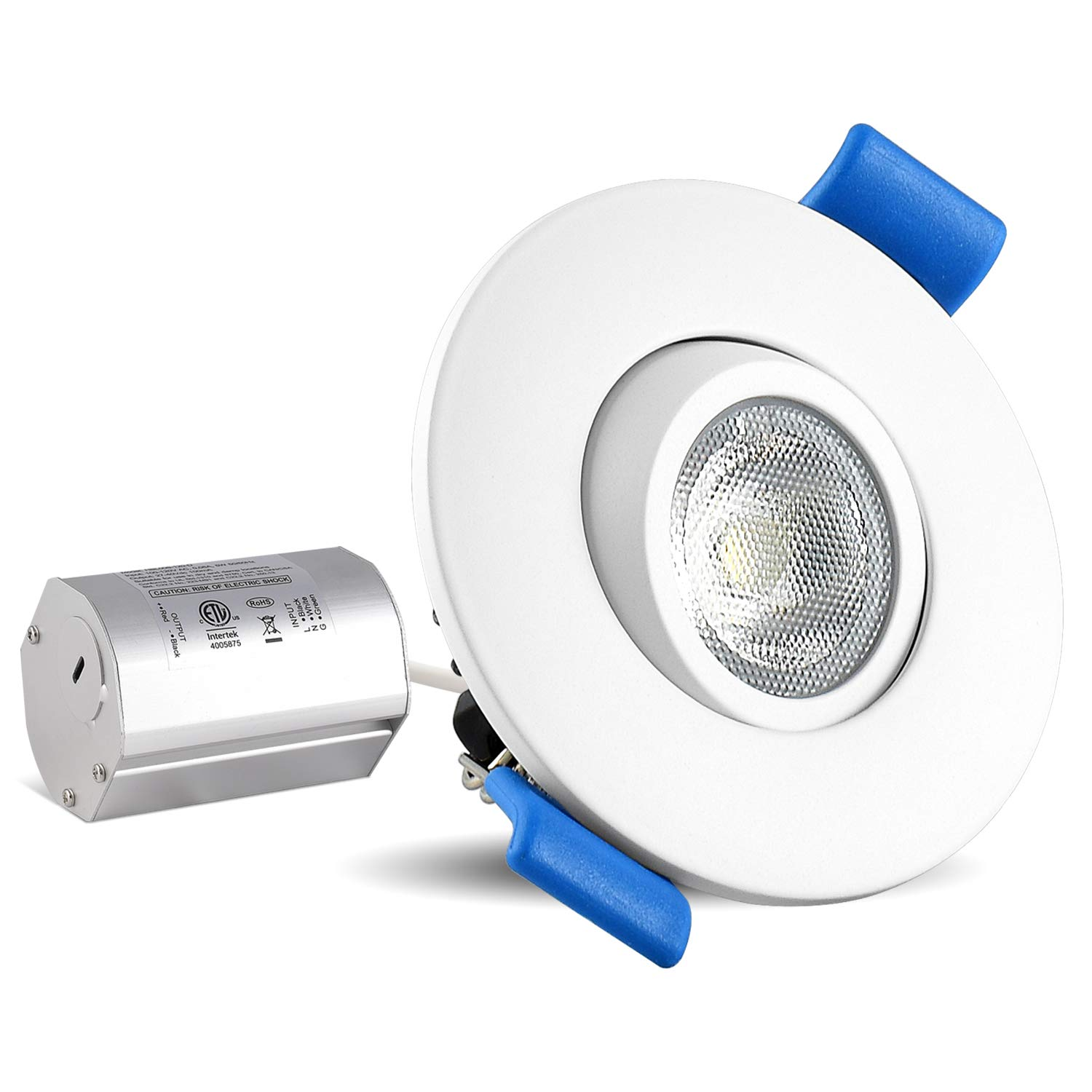 Luxrite 2 Inch Gimbal LED Recessed Light with Junction Box, 5W, 3000K Soft White, 400 Lumens, Dimmable Downlight, Energy Star & IC Rated, Damp Location - Adjustable Recessed Lighting