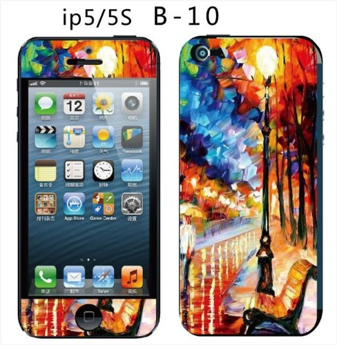 Big Dragonfly New Stylish Colorful Diamond Embossed Luminescent Vinyl Decal Stickers for iPhone 5/5S(Dim Lamps & Deserted Streets Oil Painting)