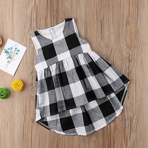 Calsunbaby Toddler Baby Girl Irregular Black and White Plaid Checked Sleeveless Dresses Sundress