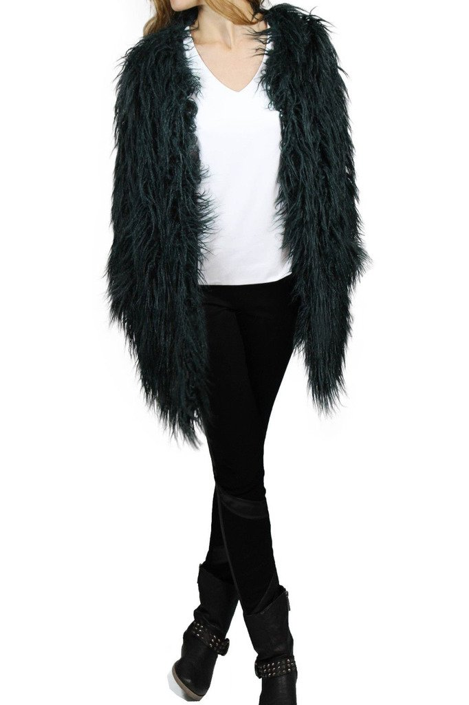 Lark Forest Green Faux Ostrich Feather Cover-Up Jacket Style SK0117 - Size Small