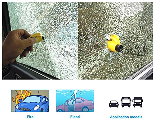 MECULE 2 Pack Keychain Car Escape Tool Seat Belt Cutter Window Glass Breaker Vehicle Car Safety Hammer for Emergency Quick Rescue - Yellow by MECULE (Image #4)