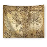HEBE Tapestry Wall Hangings, Antique World Map Wall Tapestry Hanging for Bedroom Living Room Light-weight Polyester Fabric Wall Decor 59'' H x 79'' L