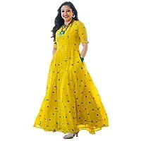 Akhil Garments Women's Rayon Mirror Work Kurta (Yellow Colour)
