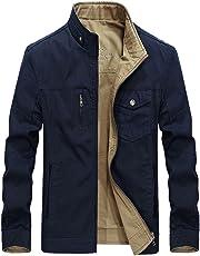 Risnow Mens 100% Cotton Reversible Jacket & Coats Stand Collar Windbreaker