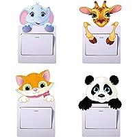 Paquete de 4 pegatinas para interruptores de luz de dibujos animados de animales, pegatinas de panda, pegatinas de…