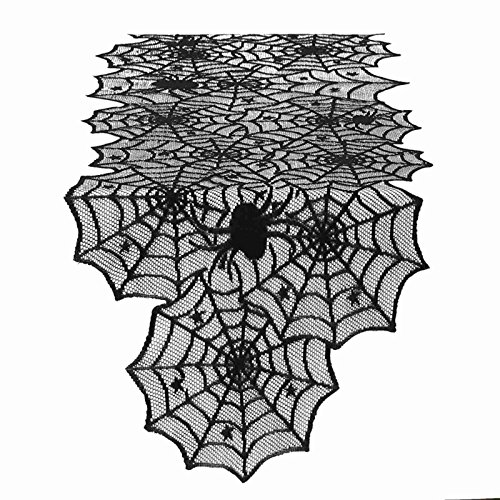 Vlovelife Black Spider Web Table Runner, 18 by 72 Inch Halloween Table Runners, Polyester Lace Table Runner for Halloween Party Favors Dinner Table Decor -