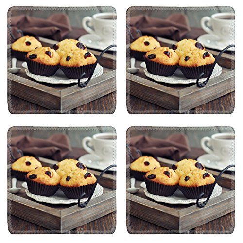 MSD Square Coasters Non-Slip Natural Rubber Desk Coasters design 24750076 Muffins with dried cranberry on vintage wooden tray closeup