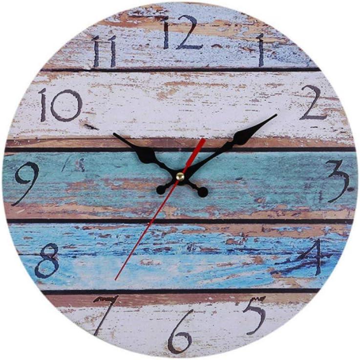 ZC Vintage Antiguo Gran Número Árabe Reloj De Pared De Madera Antiguo Shabby Retro Reloj De Pared Hogar Cocina Dormitorio Decoración