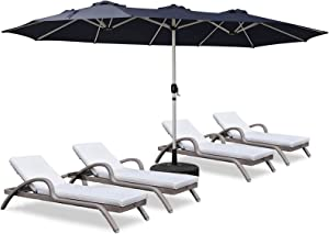 ROWHY 15ft Patio Umbrella Double-Sided Outdoor Market Umbrella Oversize Umbrella with Crank for Pool, Patio Furniture, Patio Shade, Weight Base is not included (Navy)