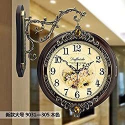 Imoerjia Solid Wood European Double-Sided Wall Clock Living Room Large Two-Sided Clocks Creative Clock Retro Mute Quartz Clock, 20 Inch, Double Sided Clock 9031-305 Large Wood