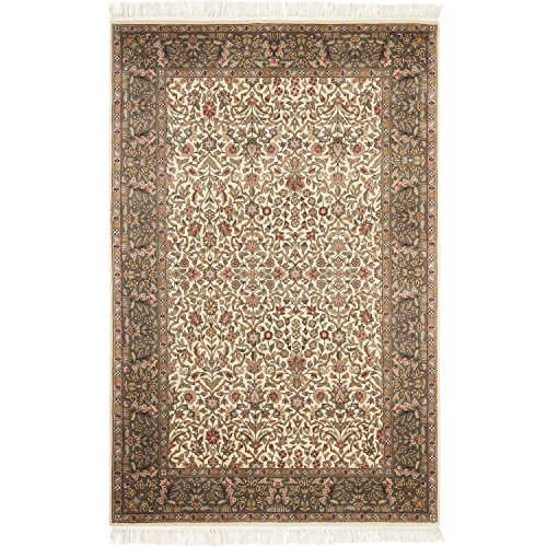 Safavieh Royal Kerman Collection RK13B Hand-Knotted Ivory and Light Green Wool Area Rug (5' x 7')