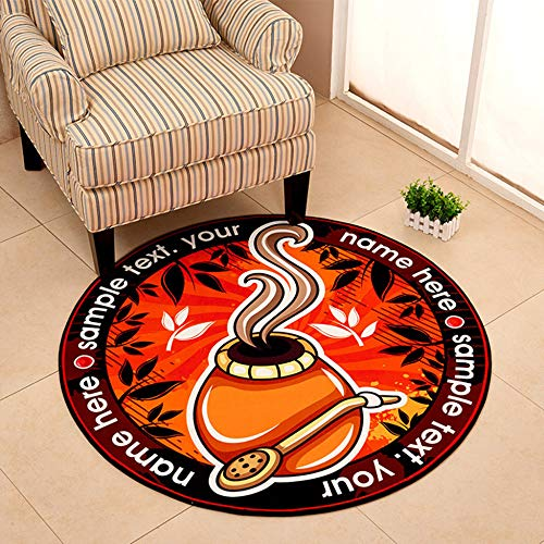 - Non Slip Washable Door Mat Office Chair Mat Round Soft Touch Shaggy Thick Rug Living Room Rug,Printed(4)-100cm