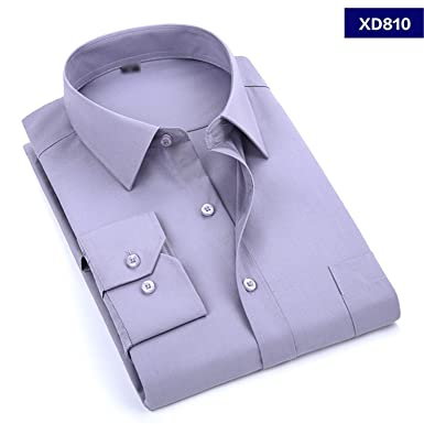 c3205ab13aa Soybeans 2019 New Men s Dress Shirt Solid Color Plus Size 8XL Black White  Blue Gray Male Business Casual Long Sleeved Shirt at Amazon Men s Clothing  store