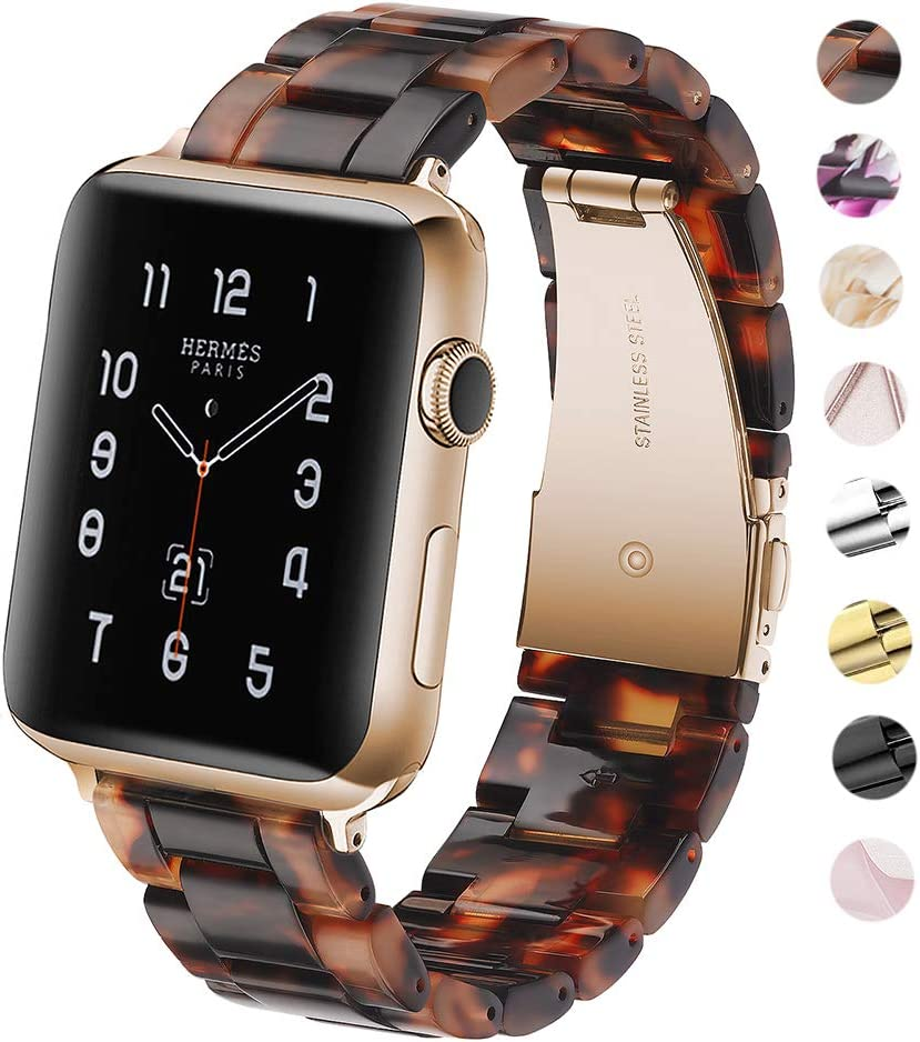 F-wheel Resin Watch Band 38mm 40mm, Women Men Series 4/3/2/1 with Stainless Steel Buckle, for Party, Working, Date,Tortoise-Tone,iWatch Strap, Replacement Wristband