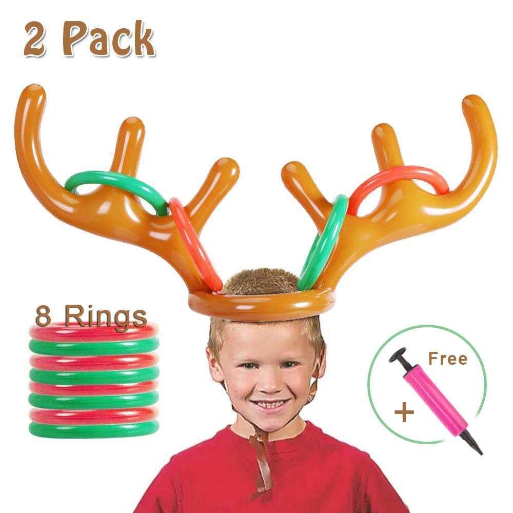 Antler Ring Toss Game with 2 Antlers Lesgos Inflatable Reindeer 2 Pack 2 or More Players Christmas Toys for Christmas Holiday Family Party Game 8 Ring /& 1 Hand-held Pump
