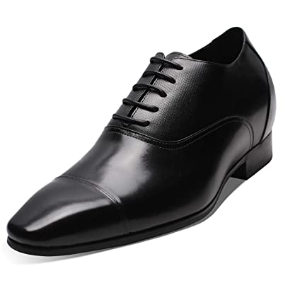 CHAMARIPA Men's Invisible Height Increasing Elevator Shoes-Black Genuine Leather Formal Oxford Dress Shoes - 2.96 Inches Taller | Oxfords