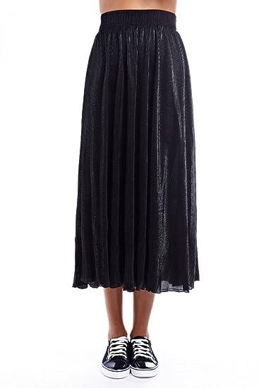 Q2 Mujer Falda Larga Metalizada Negra - XS - Negro: Amazon.es ...