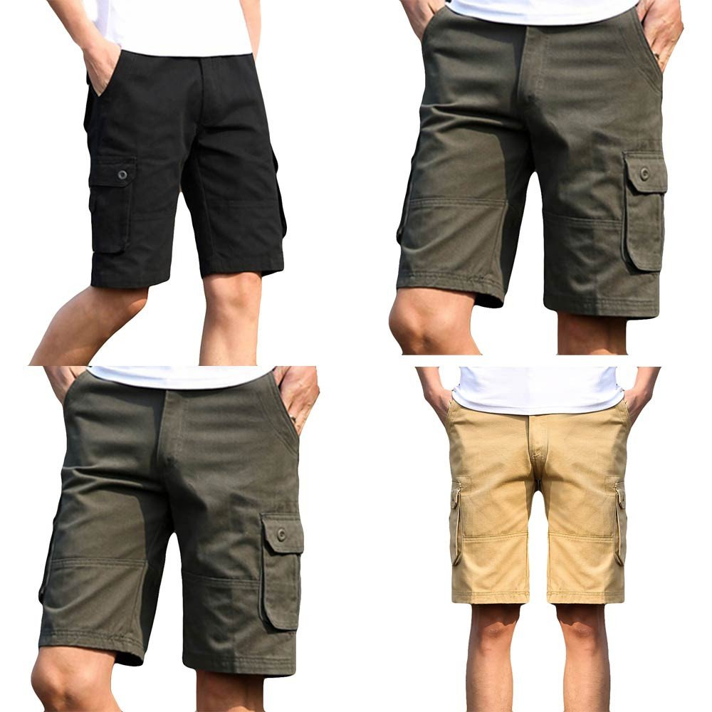 WEUIE Hot Sale Fashion Mens Casual Pocket Beach Work Casual Short Trouser Shorts Pants(38,Black)