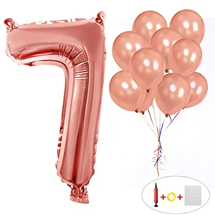 Happy Birthday Helium Number 7 Balloons 40 Inch Rose Gold Foil Mylar Numbers 0 9
