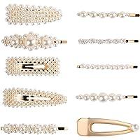 SODIAL Fashion Imitiation Pearl Hairpins Korea Vintage Flower Barrettes Long Hair Clips Accessory Handmade Metal Golden Hairgrip for Women Girls (10 Pcs)