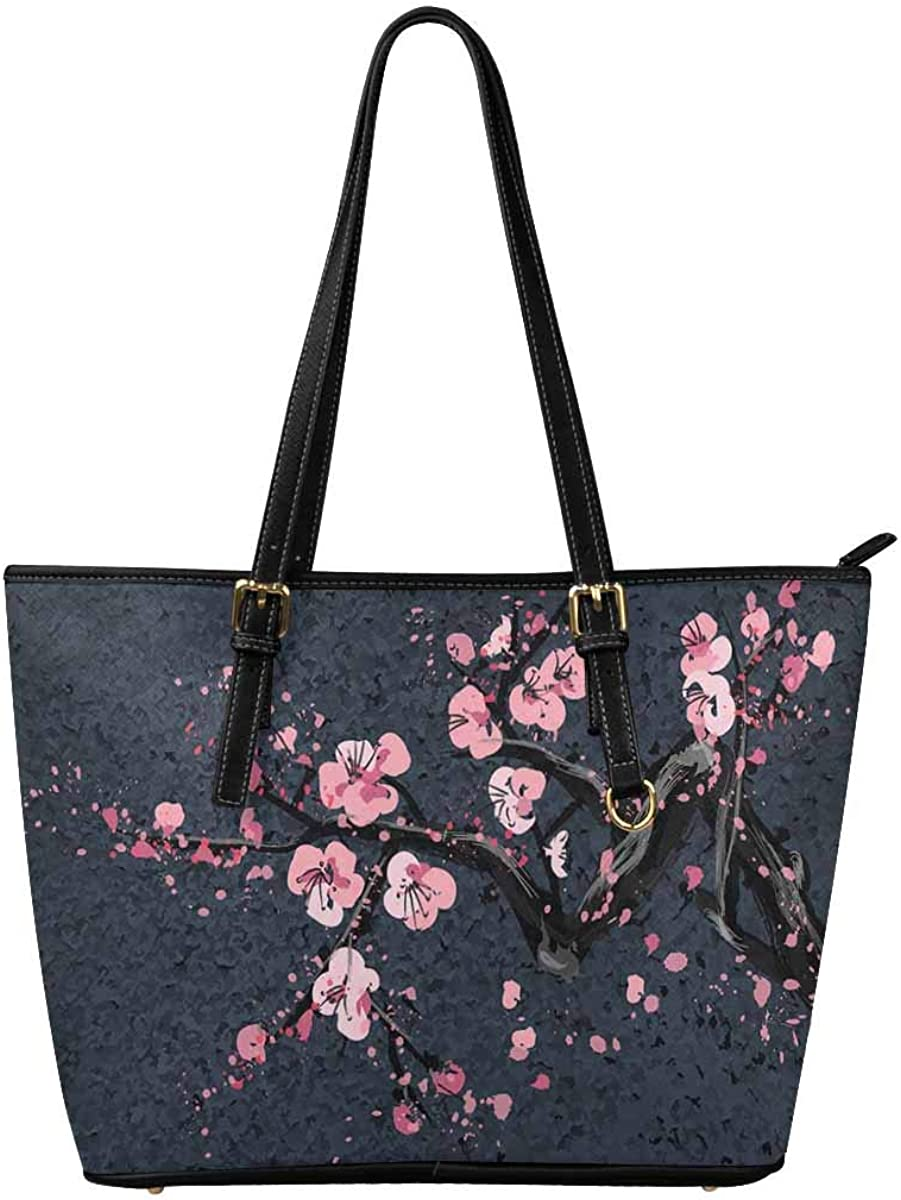Cherry Blossom Tree Genuine Leather Handbags Purses Shoulder Tote Satchel Bags Womens