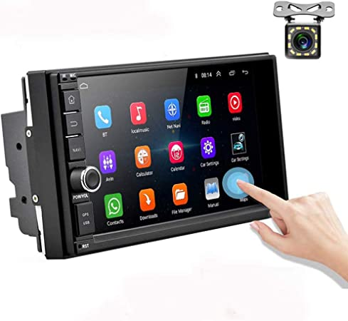 Amazon Com Android Car Radio Double Din Car Stereo With Gps 1080p 7 Inch Touch Screen Bluetooth Fm Receiver Support Wifi Connect Mirror Link For Android Ios Phone Backup Camera Gps