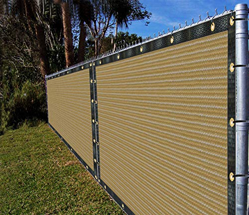 Ifenceview 4'x5' to 4'x50' Beige Shade Cloth/Fence Privacy Screen Fabric Mesh Net for Construction Site, Yard, Driveway, Garden, Railing, Canopy, Awning 160 GSM UV Protection (4'x20')]()