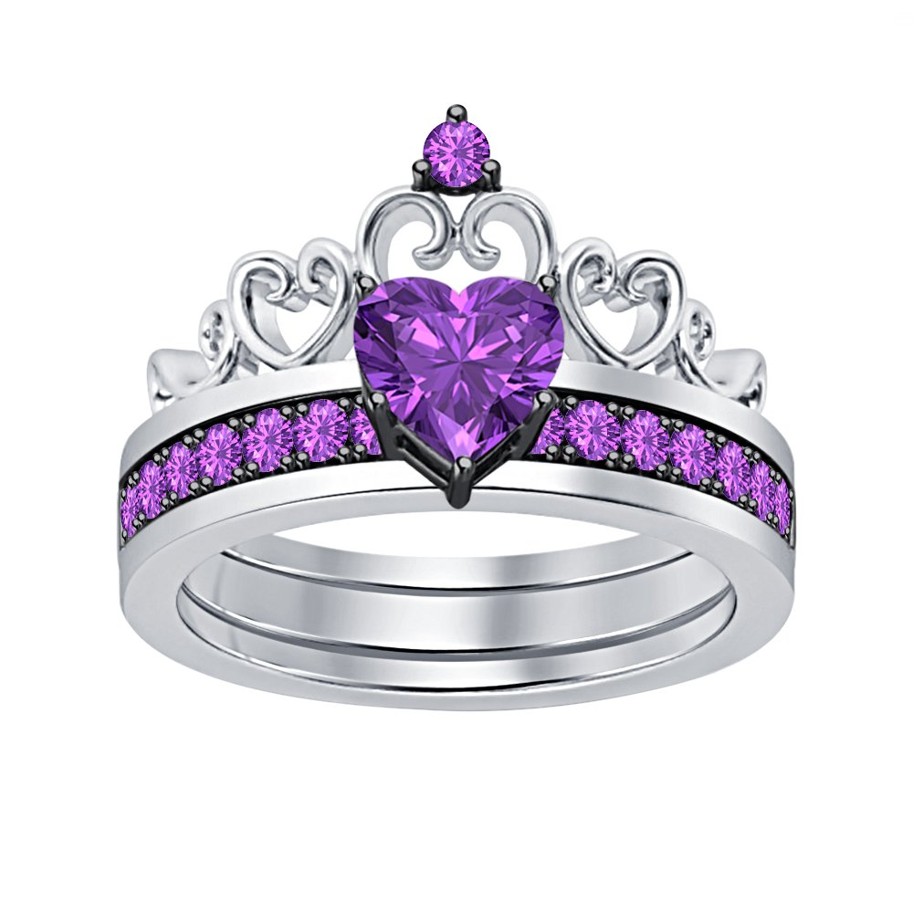 Lovely 1.64 CTW Heart Shape Purple Amethyst Princess Crown Engagement Wedding Ring Set 14k White Gold Plated