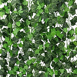 ElaDeco 94 ft 12 Pack Artificial Ivy Garland Vine,Plastic Ivy Vines Fake Ivy Garland for Wedding Party Decoration Garden Wall Greenery Decoration 49
