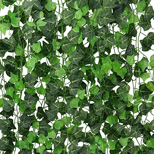 ElaDeco 94 ft 12 Pack Artificial Ivy Garland Vine,Plastic Ivy Vines Fake Ivy Garland for Wedding Party Decoration Garden Wall Greenery -